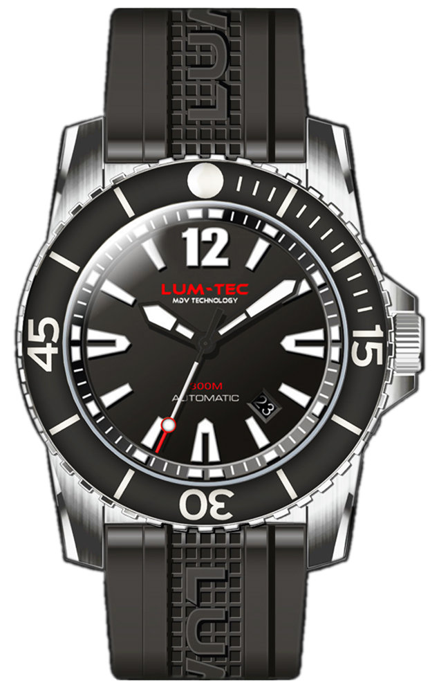 Lum-Tec Watch - 300M-1XL - 45mm Automatic Mens Diver w/ Stainless Steel & Rubber