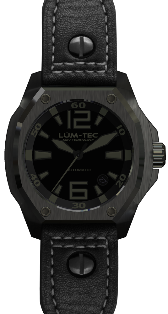 Lum-Tec Watch - V Series - V3 Phantom Automatic Mens w/ Black Leather