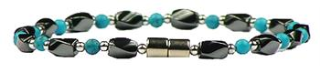 Simulated Turquoise Hematite - Magnetic Therapy Anklet (HA-T)