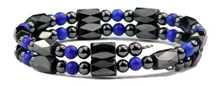 Simulated Lapis Small Wrap Around - Hematite Magnetic Therapy Bracelet/Anklet (HB-24)