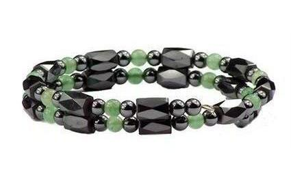 Simulated Jade Small Wrap Around - Hematite Magnetic Therapy Bracelet-Anklet (HB-26)