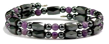 Simulated Amethyst Quartz Small Wrap Around - Hematite Magnetic Therapy Bracelet/Anklet (HB-37)