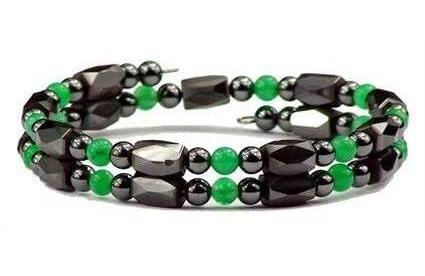 Dark Green Small Wrap Around - Hematite Magnetic Therapy Bracelet-Anklet (HB-38)