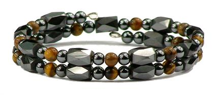 Simulated Tiger Eye Small Wrap Around - Hematite Magnetic Therapy Bracelet/Anklet (HB-40) - DISCONTINUED