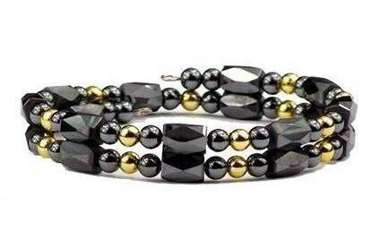 Gold Plated Beads Small Wrap Around - Hematite Magnetic Therapy Bracelet/Anklet (HB-41)