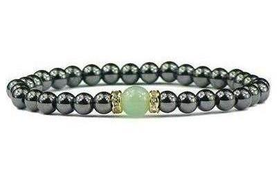 Hematite and Simulated  Green Aventurine - Magnetic Therapy Bracelet (011014GA)