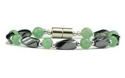 Hematite & Simulated Jade - Magnetic Therapy Bracelet (HJ-B)