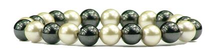 Hematite w-  Simulated Pearl Coating - Magnetic Therapy Bracelet (HP-2B)
