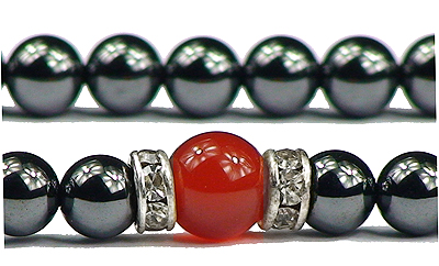 Hematite & Simulated Red Agate - Magnetic Therapy Necklace (hrczn)