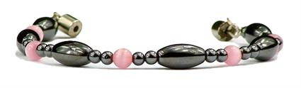 Hematite & Simulated Rose Quartz - Magnetic Therapy Bracelet (HRQ-B)