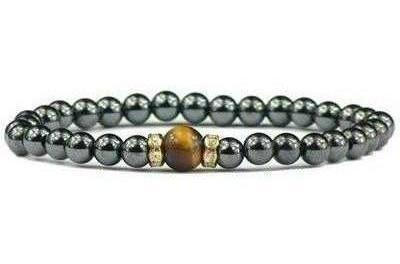 Hematite and Simulated Tiger Eye - Magnetic Therapy Bracelet (011014TE)