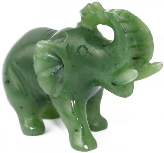 Solid Jade Elephant With Trunk Up Figurine (HNW-151)
