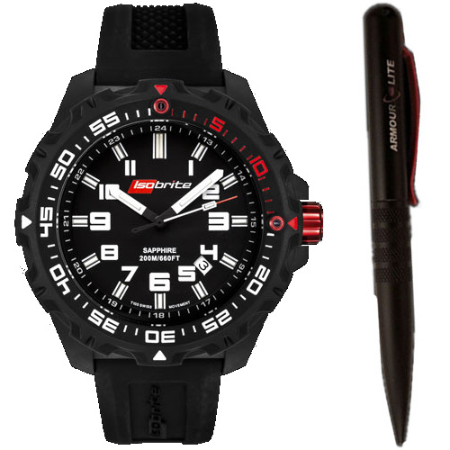ArmourLite Tritium Watch - Isobrite 100 Series ISO100 T100 Gift Set with ArmourLite Tactical Pen