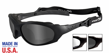 Wiley X Sunglasses - XL-1 Matte Black with Smoke Grey/Clear Lens - Changeable Series