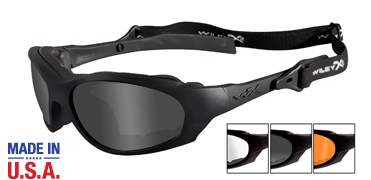 Wiley X Sunglasses - XL-1 Matte Black with Smoke Grey/Clear/Light Rust Lens - Changeable Series - DISCONTINUED