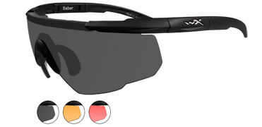 Wiley X Sunglasses - Saber Advanced Matte Black with Smoke Grey/Light Rust/Vermillion Lens & RX Insert- Changeable Series