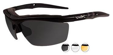Wiley X Sunglasses - Guard Matte Black with Smoke Grey/Clear/Rust Lens - Changeable Series