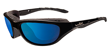 Wiley X Sunglasses - Airrage Gloss Black with Polarized Blue Mirror Lens - Climate Control Series