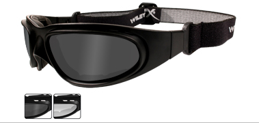 Wiley X Sunglasses - SG-1 V-Cut Matte Black with Grey/Clear Lens - Motorcycle Goggles Series - DISCONTINUED