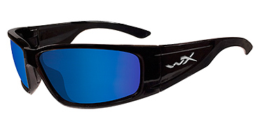 Wiley X Sunglasses - Zak Gloss Black with Polarized Blue Mirror Lens - Active Series - DISCONTINUED