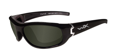 Wiley X Sunglasses - Curve Gloss Black with Polarized Smoke Green Lens - Climate Control Series