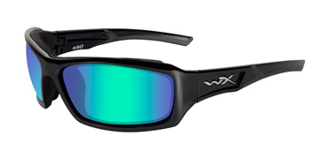 Wiley X Sunglasses - Echo Gloss Black with Polarized Emerald Mirror Lens - Climate Control Series