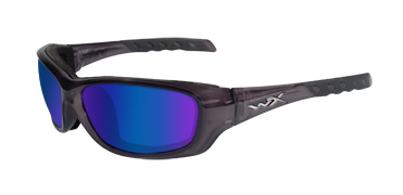 Wiley X Sunglasses - Gravity Black Crystal with Polarized Blue Mirror Lens - Climate Control Series