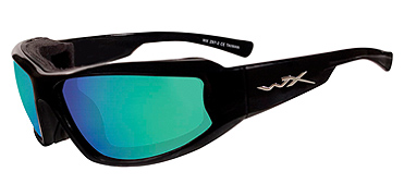 Wiley X Sunglasses - Jake Gloss Black with Polarized Emerald Mirror Lens - Climate Control Series