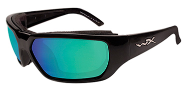 Wiley X Sunglasses - Rout Gloss Black with Polarized Emerald Mirror Lens - Climate Control Series