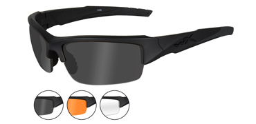 Wiley X Sunglasses - Valor Matte Black with Smoke Grey/Clear/Light Rust Lens - Changeable Series