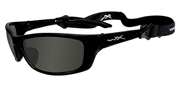 Wiley X Sunglasses - P-17 Gloss Black with Polarized Smoke Green Lens - Active Series