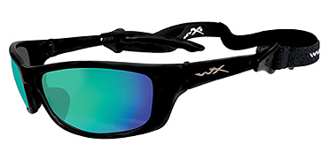 Wiley X Sunglasses - P-17 Gloss Black with Polarized Emerald Mirror Lens - Active Series