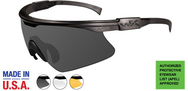 Wiley X Sunglasses - PT-1 Matte Black with Smoke Grey/Clear/Rust Lens & RX Insert- Changeable Series