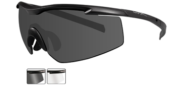 Wiley X Sunglasses - PT-3 Matte Black with Smoke Grey/Clear Lens - Changeable Series