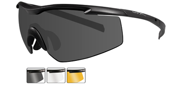 Wiley X Sunglasses - PT-3 Matte Black with Smoke Grey/Clear/Light Rust Lens - Changeable Series - DISCONTINUED