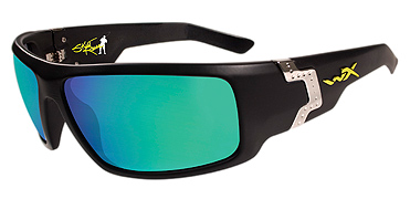 Wiley X Sunglasses - Xcess Skeet Reese/Gloss Black with Polarized Emerald Mirror Lens - Street Series - DISCONTINUED