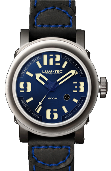 Lum-Tec Watch - Abyss 600M-2 - Automatic Mens Diver w/ Black Leather Strap