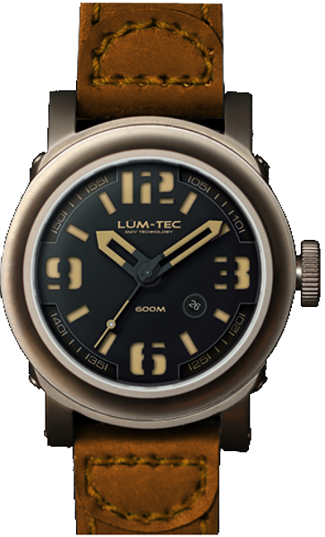 Lum-Tec Watch - Abyss 600M-3 - Automatic Mens Diver w/ Brown Leather Strap