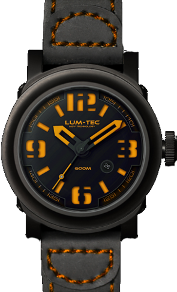Lum-Tec Watch - Abyss 600M-4 - Automatic Mens Diver w/ Black Leather Strap