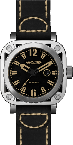 Lum-Tec Watch - G Series - G1 Vintage Quartz Mens w/ Black Leather