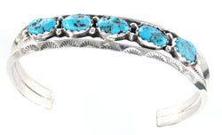 Turquoise Row Mens Bracelet - Navajo Native American Handcrafted - DISCONTINUED