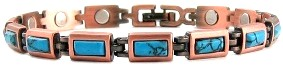 Copper (Simulated) Turquoise Rectangles - Magnetic Therapy Bracelet (CL-18)
