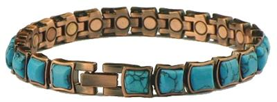 Copper (Simulated) Turquoise Majestic - Magnetic Therapy Bracelet (MBC-130) - NEW! - DISCONTINUED