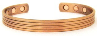 Lines -  Solid Copper Magnetic Therapy Bracelet (MBG-037) - NEW!