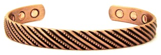 Stripes -  Solid Copper Magnetic Therapy Bracelet (MBG-038) - NEW!