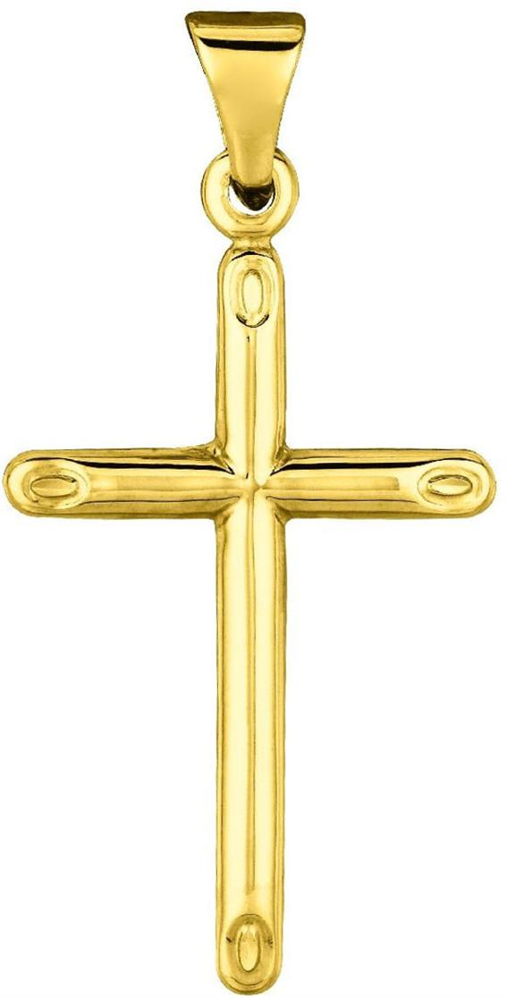 "14K Yellow Gold 18X30mm (0.71""x1.18"") Polish Round Tube Cross Pendant"