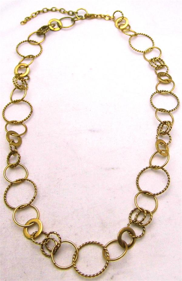 Gold Plated 925 Sterling Silver Round Link Chain Necklace - Vintage / Estate Collection