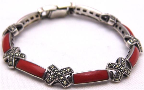 Marcasite X's and Red Stone Bracelet - Vintage / Estate Collection - SOLD