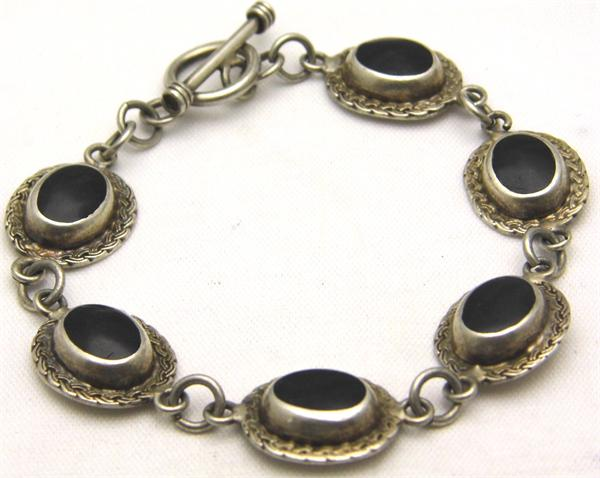 Black Onyx Link Oval Sterling Silver Bracelet - Vintage / Estate Collection - SOLD