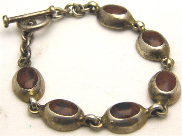 Link Oval Sterling Silver Bracelet with Brown Stone - Vintage / Estate Collection - SOLD
